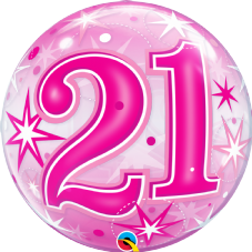 21st Pink Stars Bubble Balloon